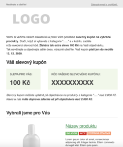 E-mail marketing šablona